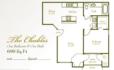 Floor Plan  Chardonnay Garden Apartments 1x1 Floor Plan